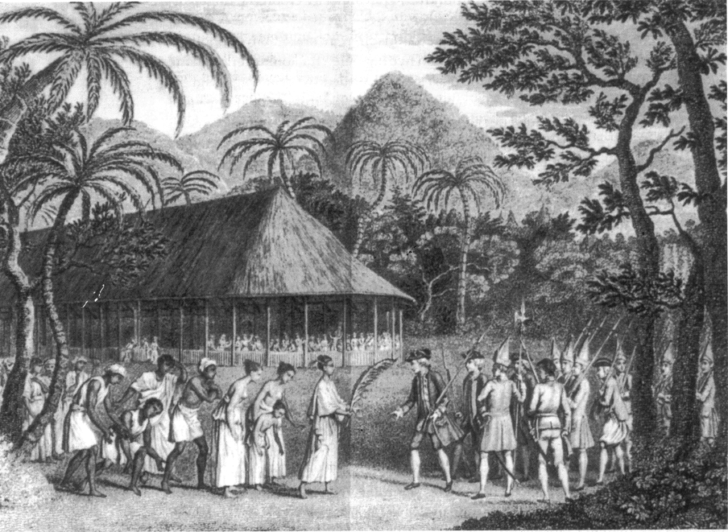Captain Wallis meeting with Queen Oberea in Tahiti cirka 1772.