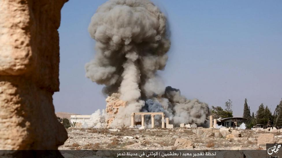 Referring to the building as a 'pagan temple', Islamic State members detonated explosives around the interior and exterior of the structure. Damage to the temple was extensive, with most of the stones shattered to pieces by the explosives.  REUTERS/Social Media
